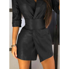 Solid 3/4 Sleeves Sheath Above Knee Little Black/Elegant Dresses