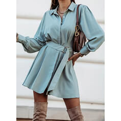Solid Long Sleeves A-line Above Knee Little Black/Casual Shirt/Skater Dresses