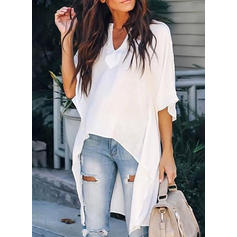 Solid V Neck Batwing Sleeve 1/2 Sleeves Casual Elegant Blouses