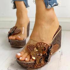 Femmes PVC Talon compensé Sandales À bout ouvert Chaussons avec Strass Perle d'imitation chaussures