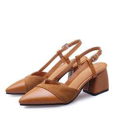 Women's Suede Leatherette Chunky Heel Pumps Closed Toe Slingbacks With Buckle shoes
