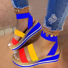 Női Műbőr Ékelt sarkú Szandál Emelvény Ékelt szandál Peep Toe -Val Split Joint cipő