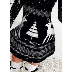 アニマルプリント 長袖 Aラインワンピース 膝上 クリスマスドレス/カジュアル スケーター ドレス
