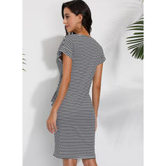 Striped Short Sleeves Sheath Knee Length Casual T-shirt Dresses