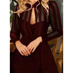 Couleur Unie Manches Longues Trapèze Au-dessus Du Genou Petites Robes Noires/Fête Patineuse Robes