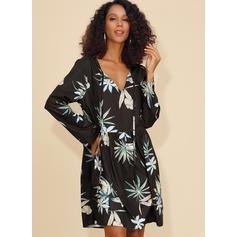Print Long Sleeves Shift Knee Length Casual Dresses