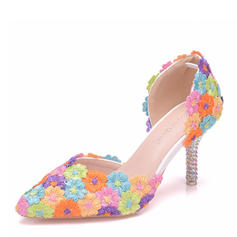 Frauen Kunstleder Spule Absatz Geschlossene Zehe Absatzschuhe Sandalen mit Applikationen
