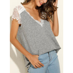 Solid Lace V-Neck Cap Sleeve Casual Blouses