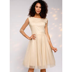 Solid 3/4 Sleeves A-line Knee Length Vintage/Sexy/Party Skater Dresses