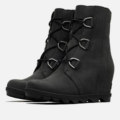 Women's PU Wedge Heel Mid-Calf Boots Martin Boots With Buckle Lace-up shoes