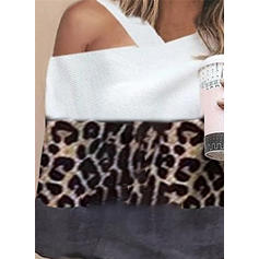 Color Block Animal Print One-Shoulder Long Sleeves Casual Knit Blouses