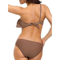 Couleur Unie Froufrous Une épaule Jolis Classique Bikinis Maillots De Bain