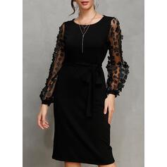 Jednolita Długie rękawy Bodycon Długośc do kolan Mała czarna/Przyjęcie/Elegancki Ołówkowa Sukienki