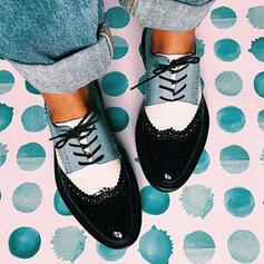 Donna PU Senza tacco Ballerine con Allacciato Colore giuntura scarpe