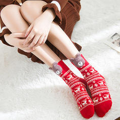 aux femmes joyeux Noël Bonhomme de neige Renne Père Noël Coton Bas Chaussettes de noel (Lot de 4)