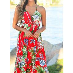 Impresión/Floral Sin mangas Acampanado Sexy/Fiesta/Vacaciones Maxi Vestidos