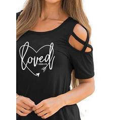 Drucken Kalte Schulter Kurze Ärmel Freizeit T-shirts