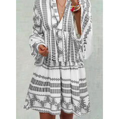 Print Long Sleeves Shift Knee Length Casual/Boho/Vacation Dresses