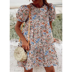 Print/Floral Short Sleeves/Puff Sleeves Shift Above Knee Casual/Vacation Tunic Dresses