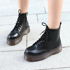 Women's PU Flat Heel Martin Boots With Lace-up shoes