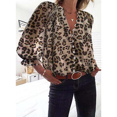 Animal Print V-Neck Lantern Sleeve 3/4 Sleeves Casual Blouses
