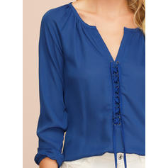 Solid V-Neck 3/4 Sleeves Casual Elegant Blouses