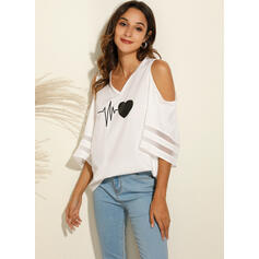 Print Cold Shoulder Flare Mouw 3/4 Mouwen Casual Blouses