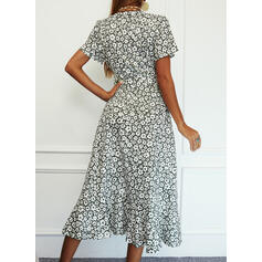 Print/Floral Short Sleeves A-line Wrap/Skater Casual/Elegant Midi Dresses