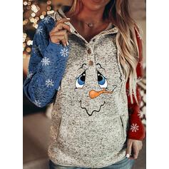 Nyomtatás zsebek Hosszú ujjú Karácsonyi pulóver