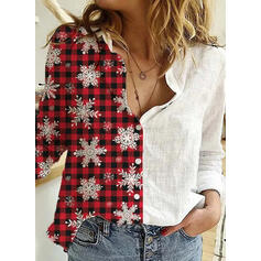 Print Color Block Lapel Long Sleeves Casual Christmas Shirt Blouses