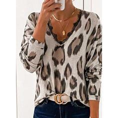 Spitze Leopard V-Ausschnitt Lange Ärmel Freizeit Blusen