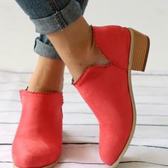Women's PU Low Heel Pumps Closed Toe Boots shoes