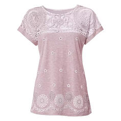 Patchwork Lace Round Neck Short Sleeves Casual Blouses