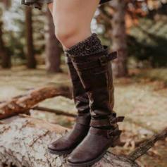 Frauen PU Niederiger Absatz Stiefel mit Schnalle Schuhe