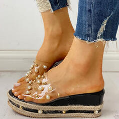 Mulheres PVC Plataforma Sandálias Peep toe Chinelos com Pérola Imitação sapatos
