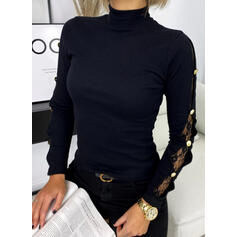 Solid Lace Stand collar Long Sleeves Button Up Casual Knit Blouses