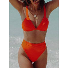 Solid Color High Waist Strap Sexy Bikinis Swimsuits