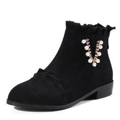 Mulheres Camurça Salto baixo Botas Bota no tornozelo com Pérola Imitação Ruched Zíper sapatos