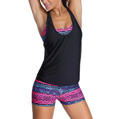 Colorful Print U Neck Elegant Tankinis Swimsuits