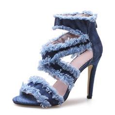 Women's Denim Stiletto Heel Sandals Pumps Peep Toe With Zipper shoes