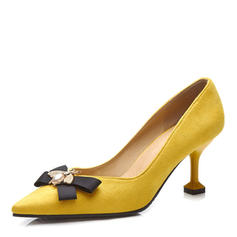 Women's Suede Stiletto Heel Pumps Closed Toe With Bowknot Imitation Pearl shoes