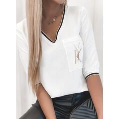 印刷 Vネック 1/2袖 カジュアル Tシャツ