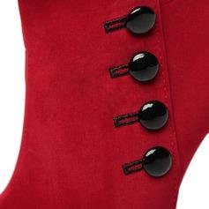 Mulheres Camurça Salto agulha Bombas Fechados Botas na panturrilha com Button sapatos