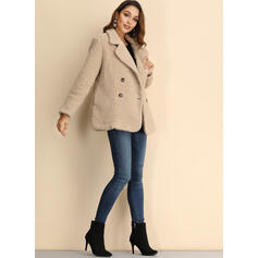 Woolen Long Sleeves Plain Faux Fur Coats