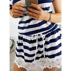 Lace/Striped Short Sleeves Sheath Above Knee Casual Dresses