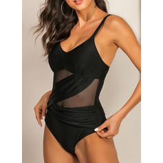 Solid Color Mesh Strap V-Neck Sexy One-piece Swimsuits