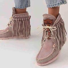 Женский PU Танкетка ботинки с Зашнуровать кисточка обувь