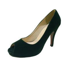 Women's Suede Stiletto Heel Pumps Peep Toe shoes