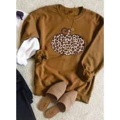 Drucken Leopard Halloween Rundhals Lange Ärmel Pullover