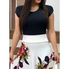Estampado/Floral Manga Curta Evasê Casual/Elegante/Tamanho positivo Maxi Vestidos